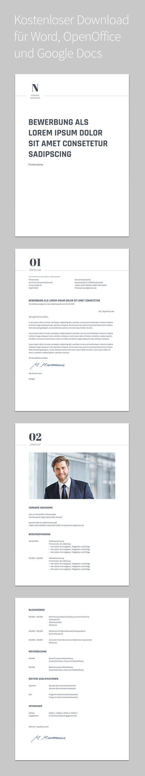 Bewerbung Novus · Design · Vorlage · Schlicht · Kostenloser Download ...