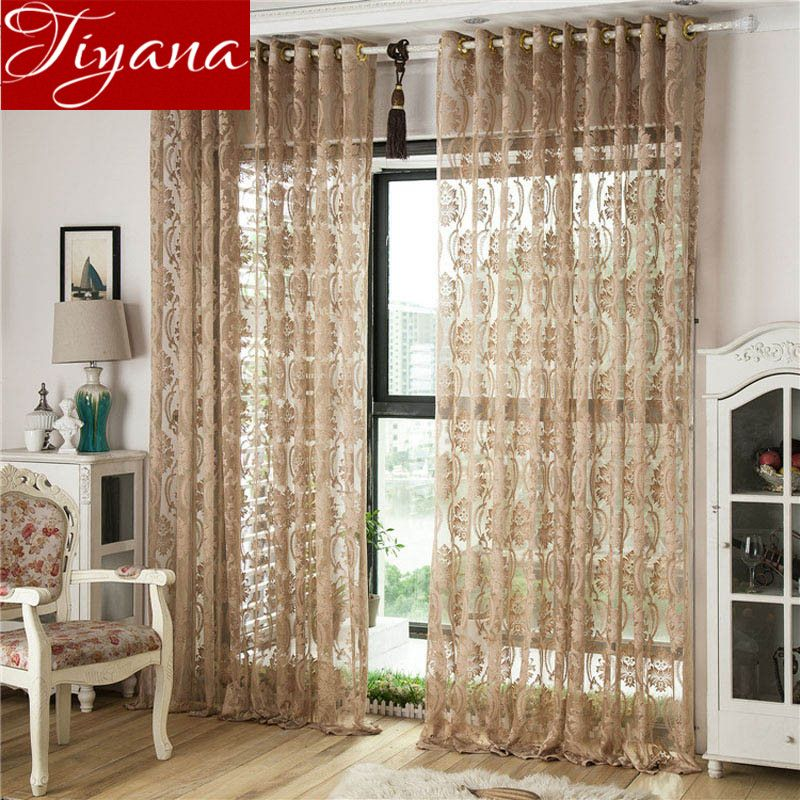 Window Screen Yarn High Quality Geometric Jacquard Curtains Voile Modern Elegant Living Room Kitchen Tulle