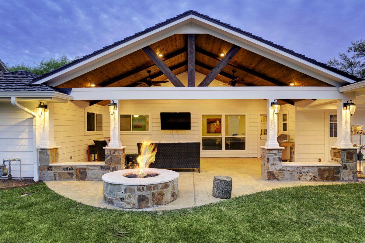 Gable patio cover and gable roofs by Texas Custom Patios