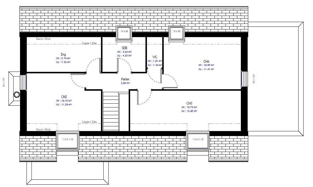 Plan maison individuelle 4 chambres 60 - Habitat Concept* ETAGE - plan maison une chambre