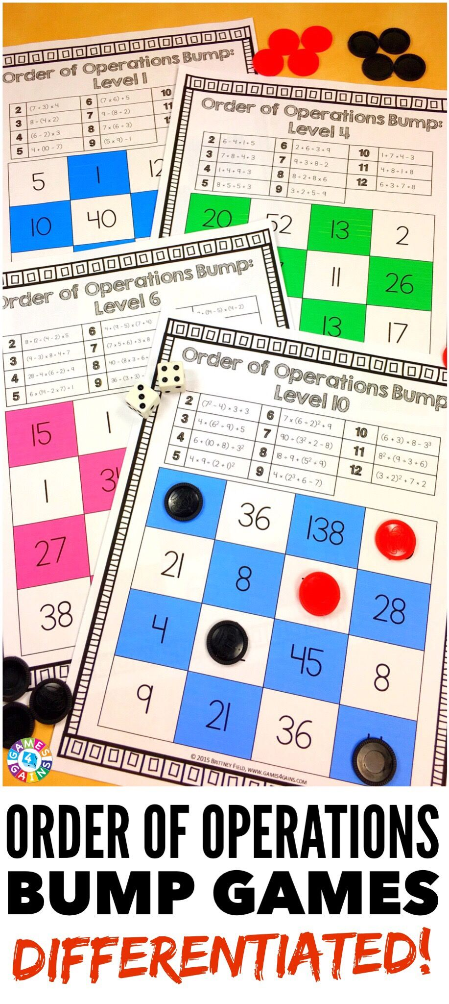 Order of Operations Games 12 Differentiated Order of