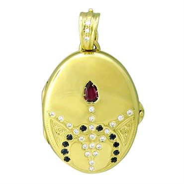 victor mayer faberge maker 18k gold diamond sapphire pendant locket