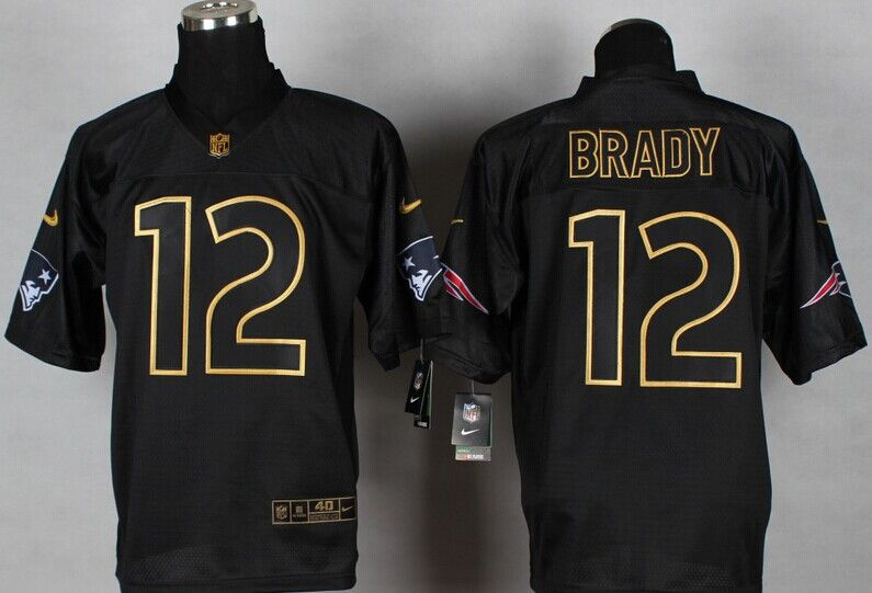 free shipping 8bcd4 4c079 New England Patriots #12 Brady Black Gold lettering fashion ...