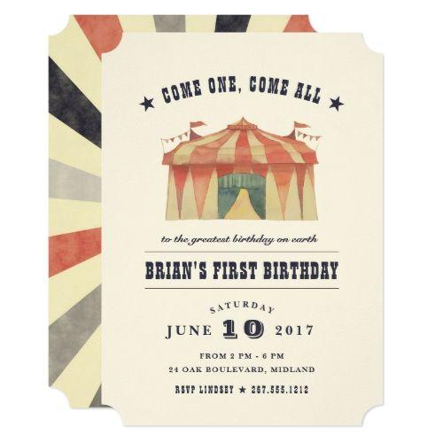 Vintage Circus Birthday Party Invitation Circus birthday, Party - best of birthday invitation text message