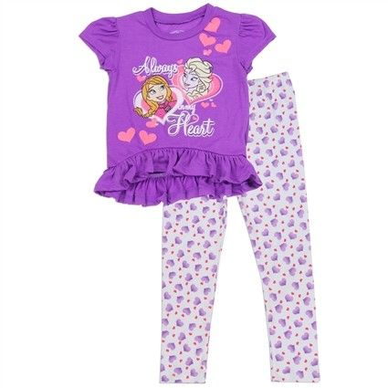 Sizes 2T 3T 4T Made From Top 100% Polyester Leggings 95% Cotton 5% Spandex Label Disney Frozen Officially Licensed Disney Frozen Apparel  Free Shipping