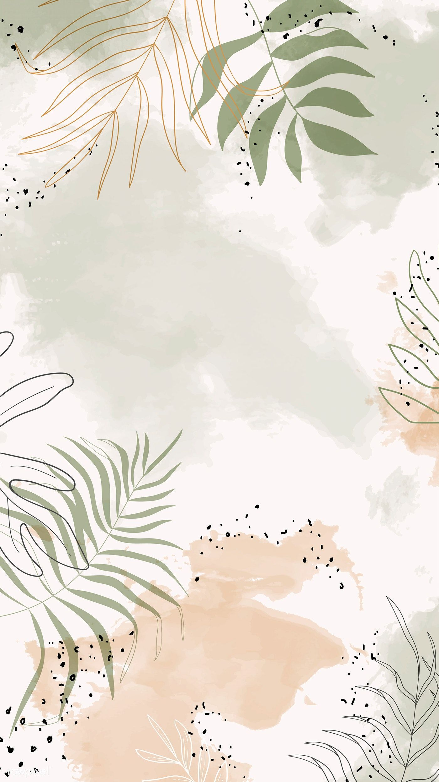 Download Premium Vector Of Beige Leafy Watercolor Mobile Phone