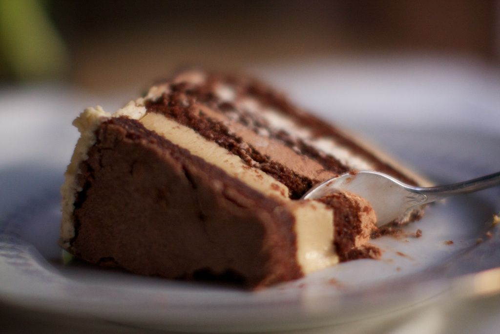 coffee and cakes a deliciously rich three layer chocolate coffee and panna cotta