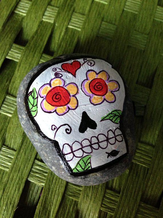 Sugar Skull Rock Painting : sugar, skull, painting, Sugar, Skull, Painted, Heart, Dannaj, Etsy,, .00, Painting,, Rocks