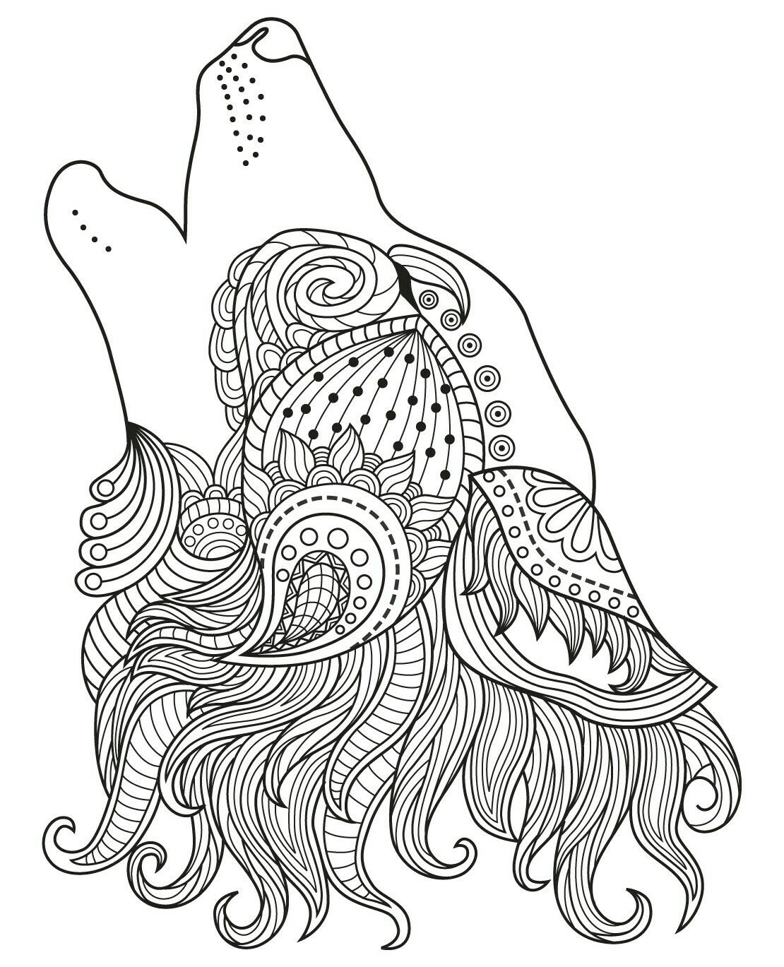 Wolf Coloring Page With Images Animal Doodles Art Black And