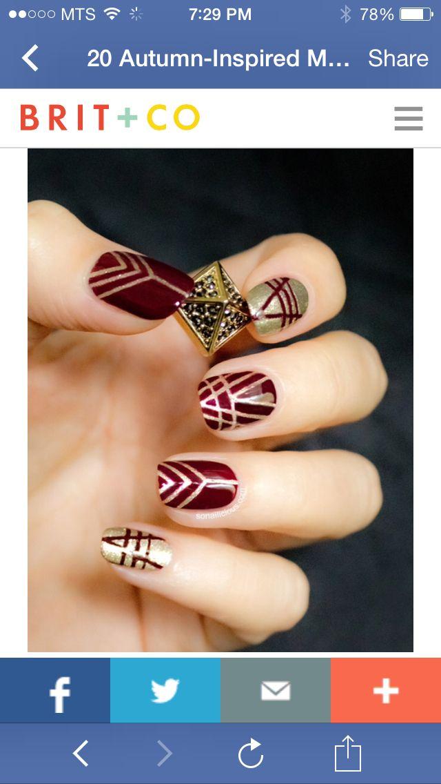 Art Deco Nail Polish Design For Fall Love Nail Polish Pinterest
