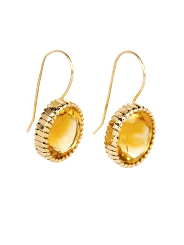 JEWELRY AT RESURRECTION VINTAGE   CITRINE GOLD EARRINGS