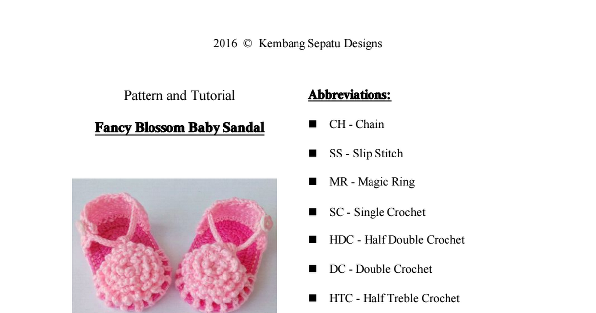 Fancy Blossom Baby Sandal - English Version.pdf | free baby booties ...