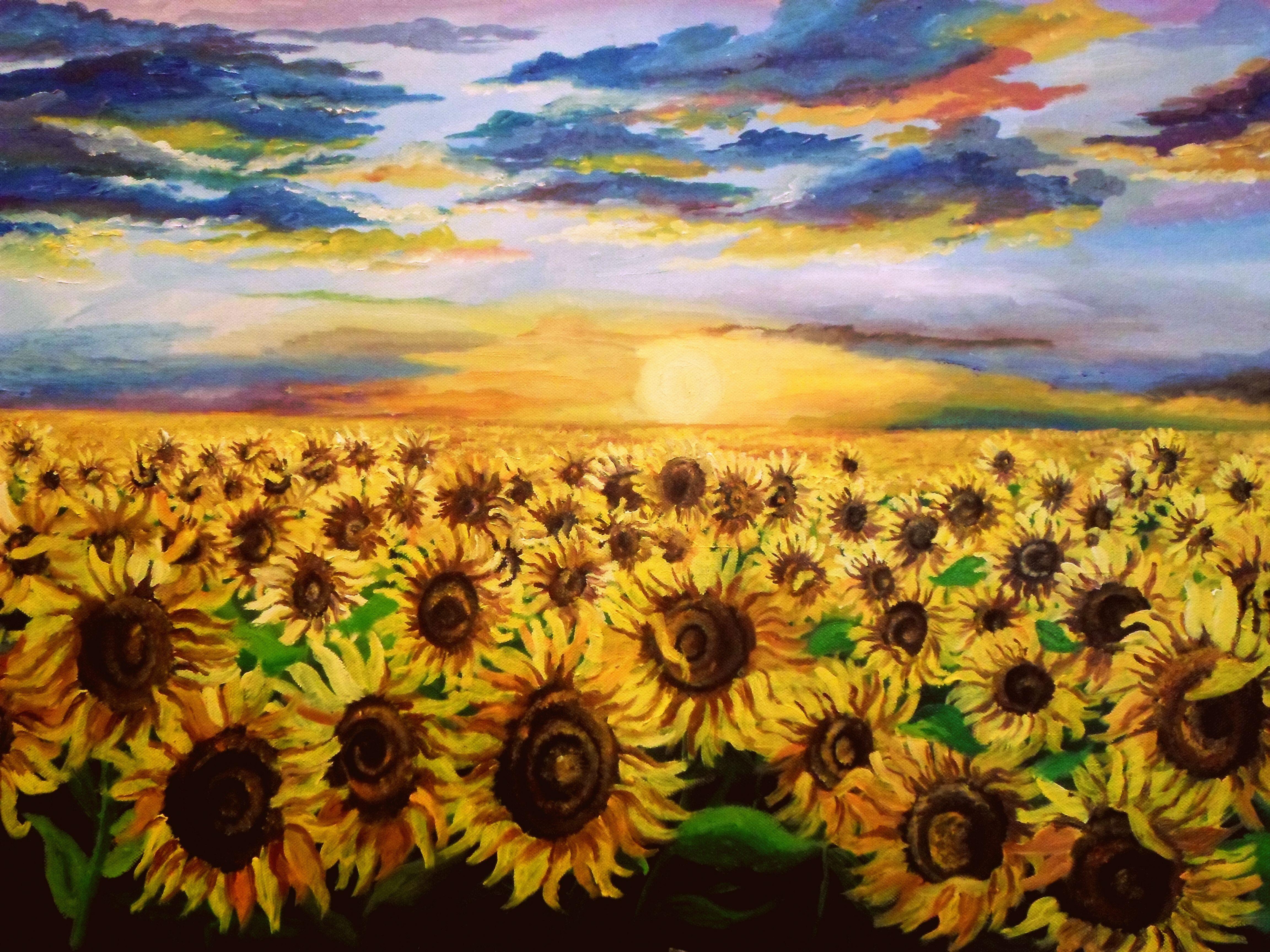 Sunflower field oil on canvas romania my paintings for How to paint a sunflower on canvas