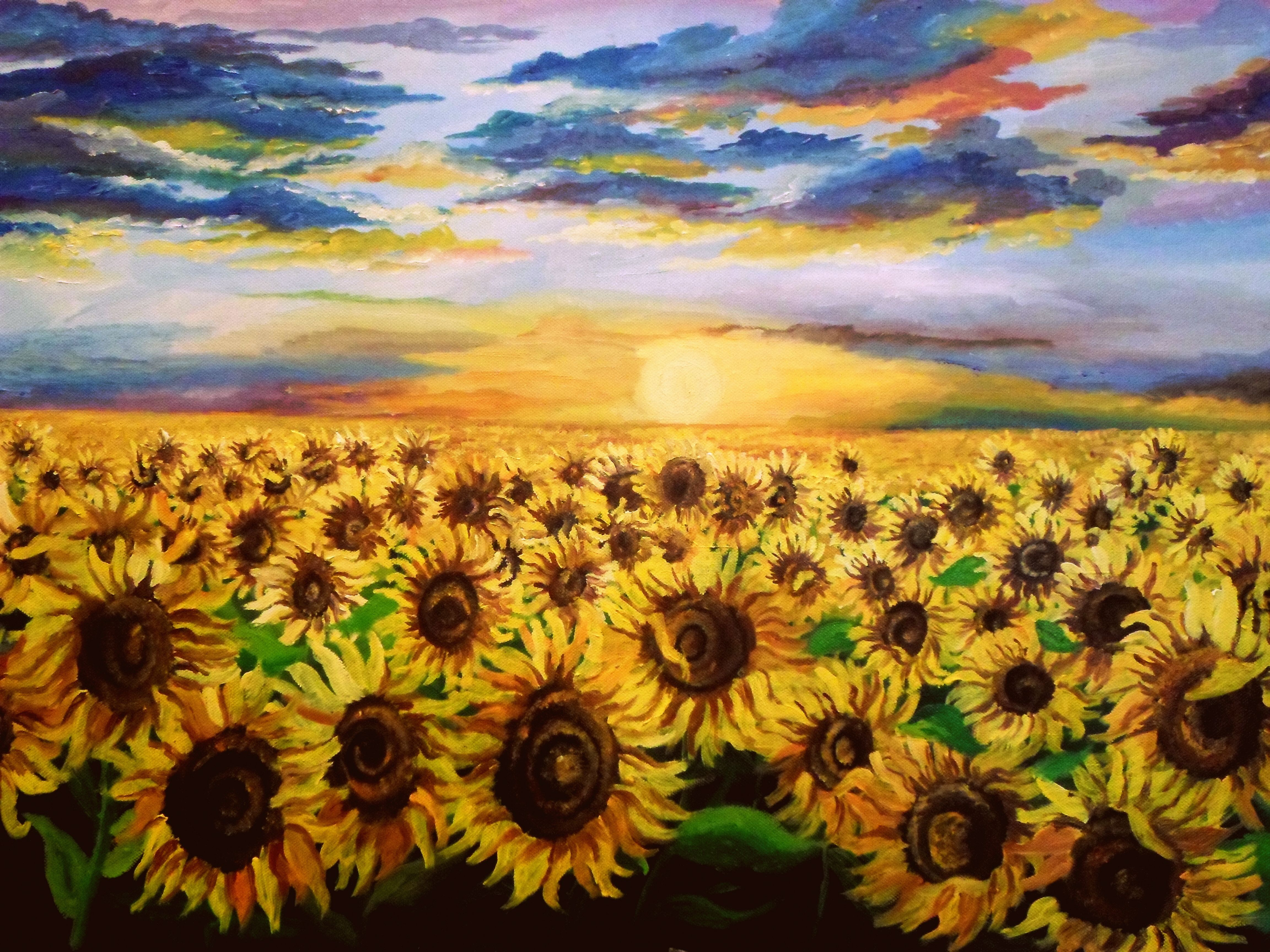 Sunflower Field Oil On Canvas Romania Sunflower Art Sunflower