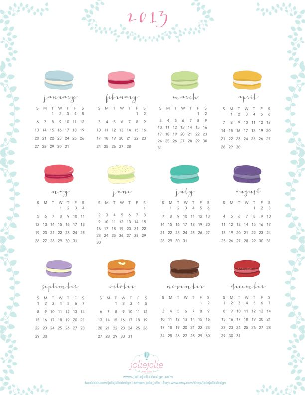 Free 2013 Printable Calendar Of French Macarons By Joliejolie