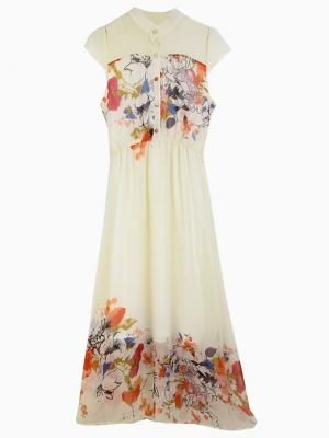 Shop Beige Floral Chiffon Maxi Dress from choies.com .Free shipping Worldwide.
