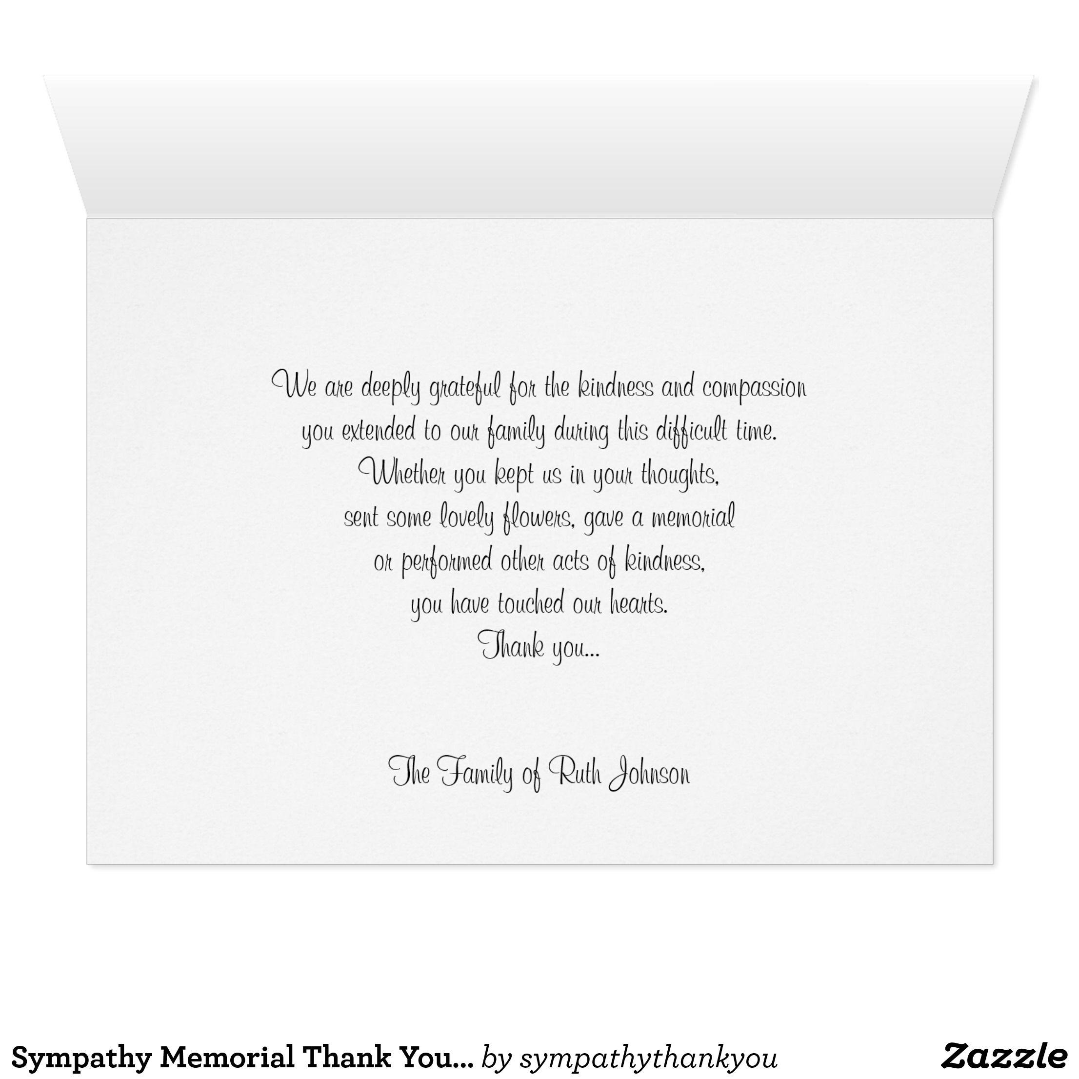 Sympathy Memorial Thank You Note Card Rose Zazzle Com