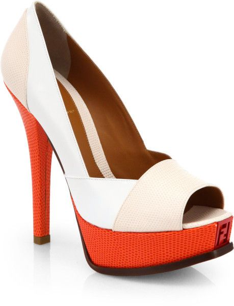 3b4d55eee06c Fendi Multicolored Leather Platform Pumps in White (WHITE MULTI) - Lyst ·  Fashion ShoesHigh ...