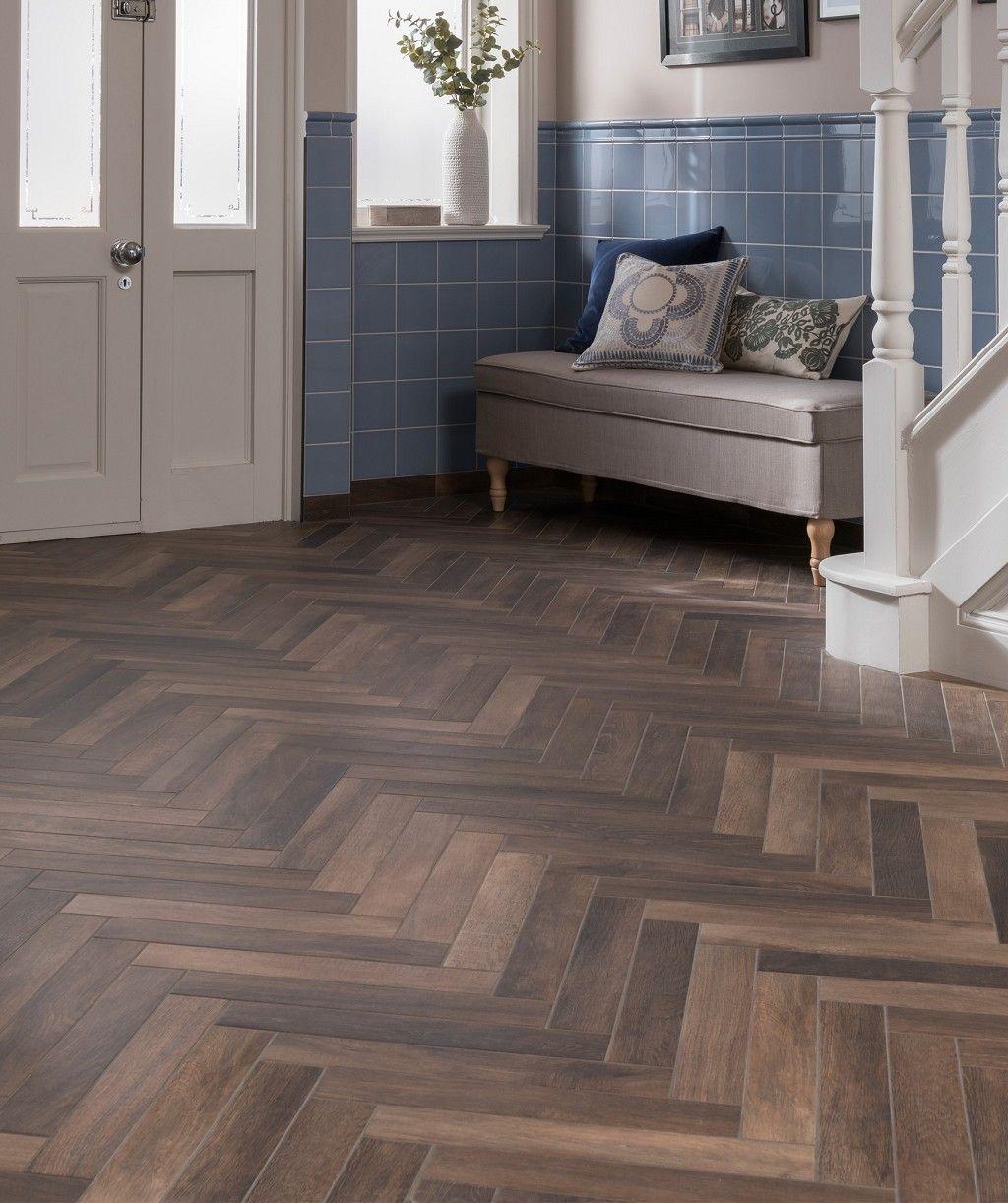 Andira™ Smokey Brown Tile Wood floor design, Herringbone