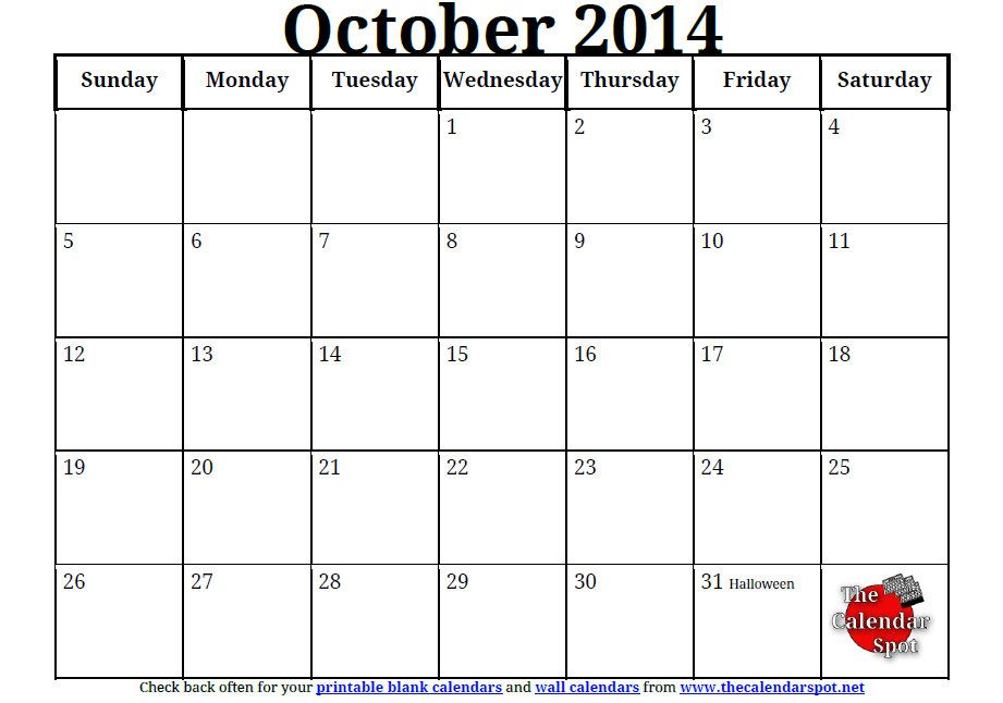 Printable Blank Pdf October  Calendar  Use This Printable