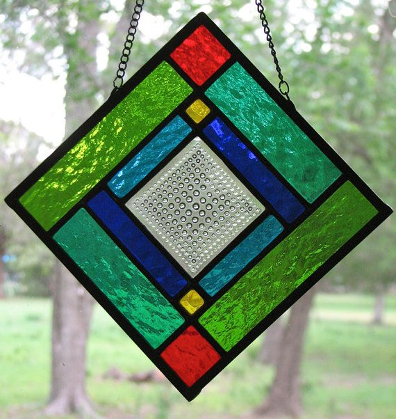 Geometric Stained Glass Panel 12 X 12 Stained Glass Diy Stained Glass Panels Stained Glass Patterns