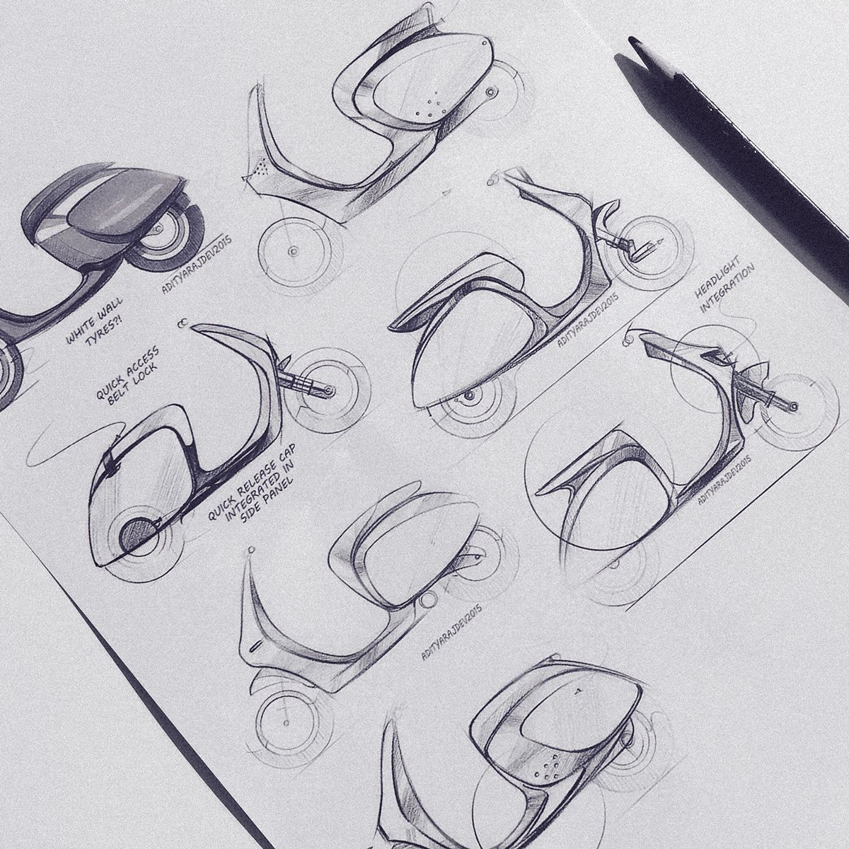 scooter / scooterdesign / transportationdesign / industrialdesign / productdesign / sketch / blue / pencil / behance / idsketching / sketchaday / render / doodle / vespa / unisex