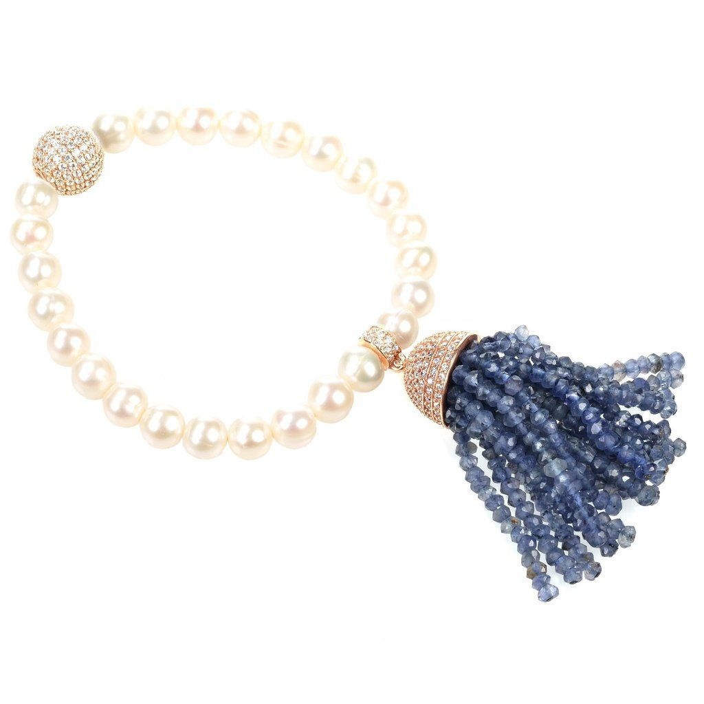 Latelita London Tassel Pearl Bracelet Iolite HLCMsCw