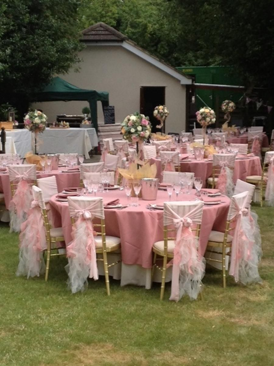 Blush Pink Chair Hoods with Ivory and Blush Ruffle Tails