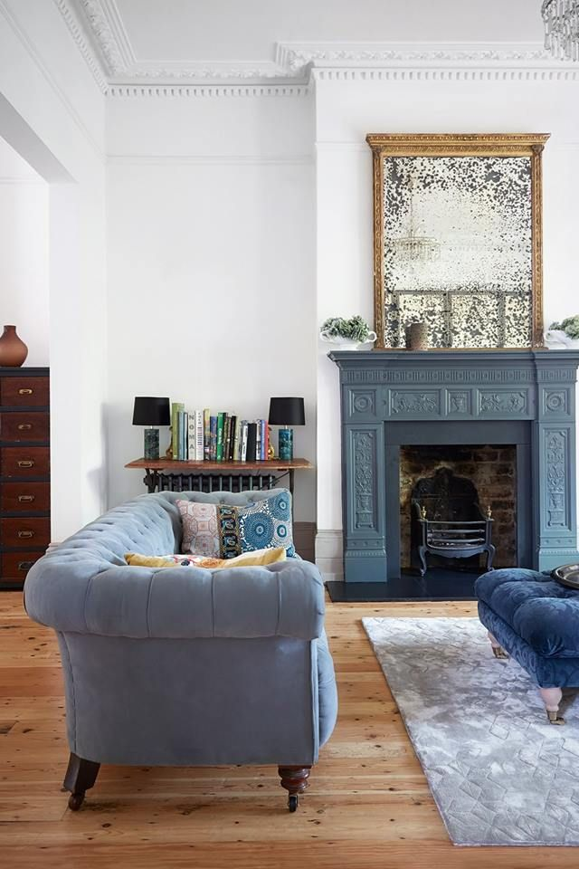 Blue Fireplace Stylish Living Room Victorian Living Room Blue