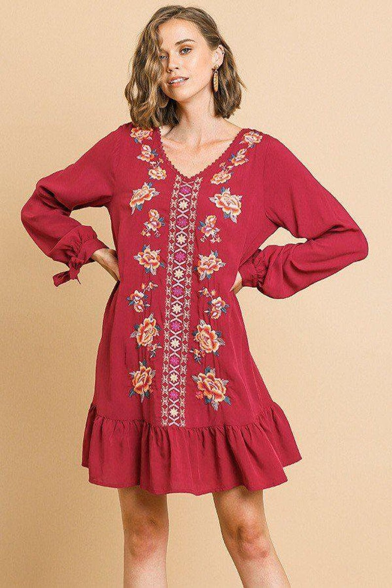 Floral Embroidered Long Sleeve V Neck Ruffle Hem Dress With Etsy Hem Dress Long Sleeve Embroidered Dress Ruffle Hem Dress [ 1191 x 794 Pixel ]
