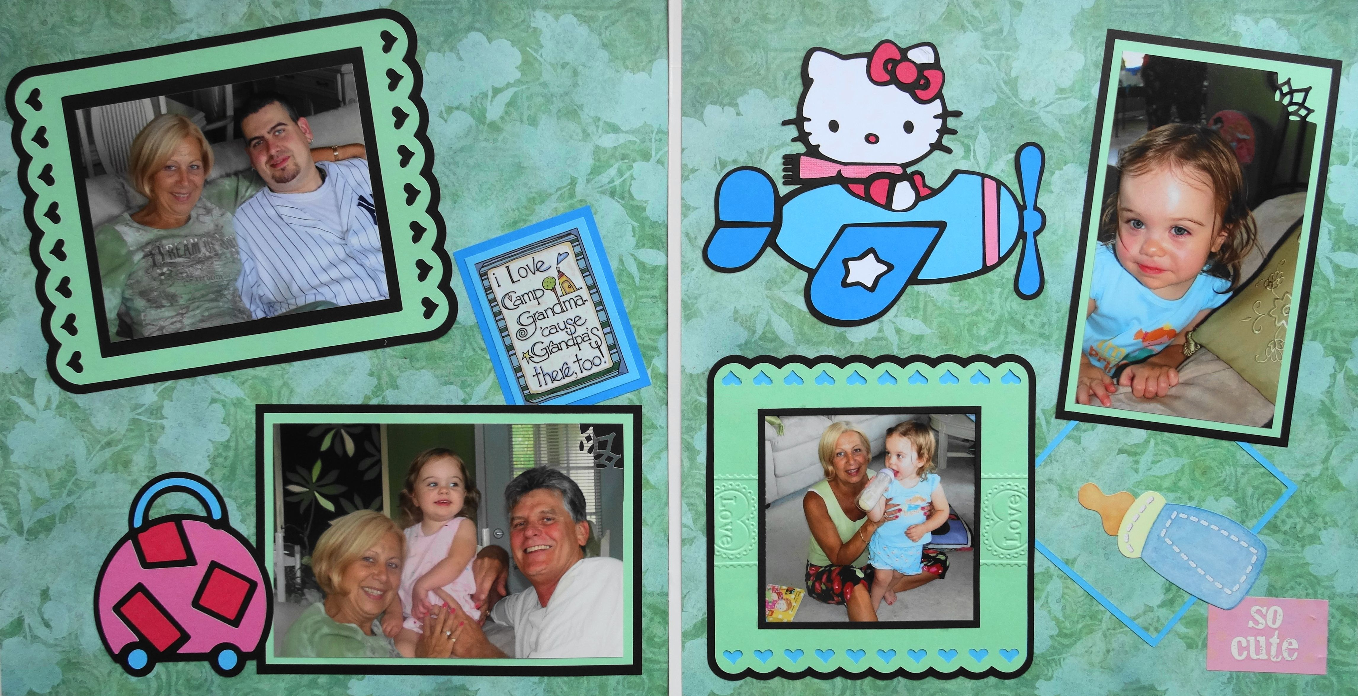 Scrapbook ideas hello kitty - Green Scrapbook Page Coming To Visit Nana Gamp 2 Page Child Layout With Hello Kitty In An Airplane And A Suitcase From Everyday Life Album 11
