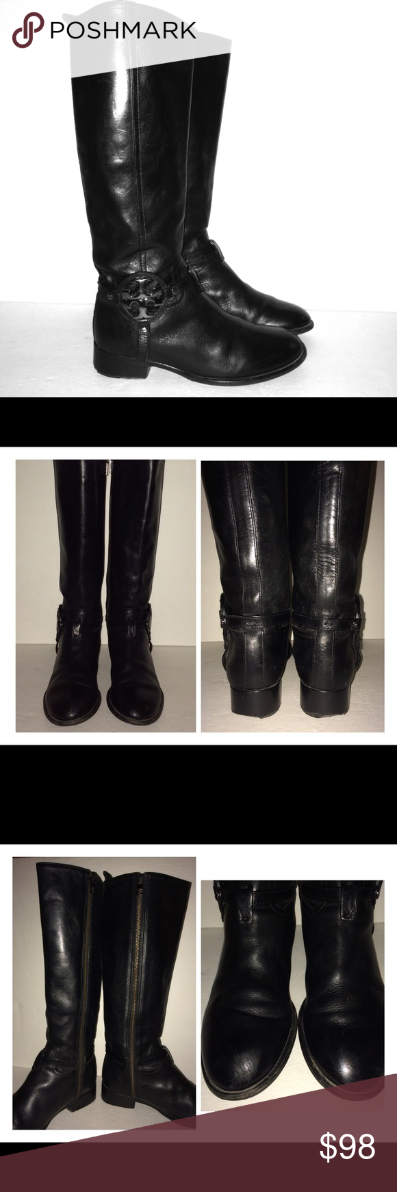Tory Burch Tall Black Leather Harness Boots Tory Burch Tall Black Leather Boots. Gun Metal/Silver Harness Medallion. Women's Size 7.5M. Boots Have Scuffs On Toes & Wear On Backs Of Heels From Regular Use. Clean Condition Inside & Out. Made In Brazil. Full Length Zipper For Easy On & Off. Thanks For Looking. Check My Closet For Other Great Items!!!!! Tory Burch Shoes Combat & Moto Boots