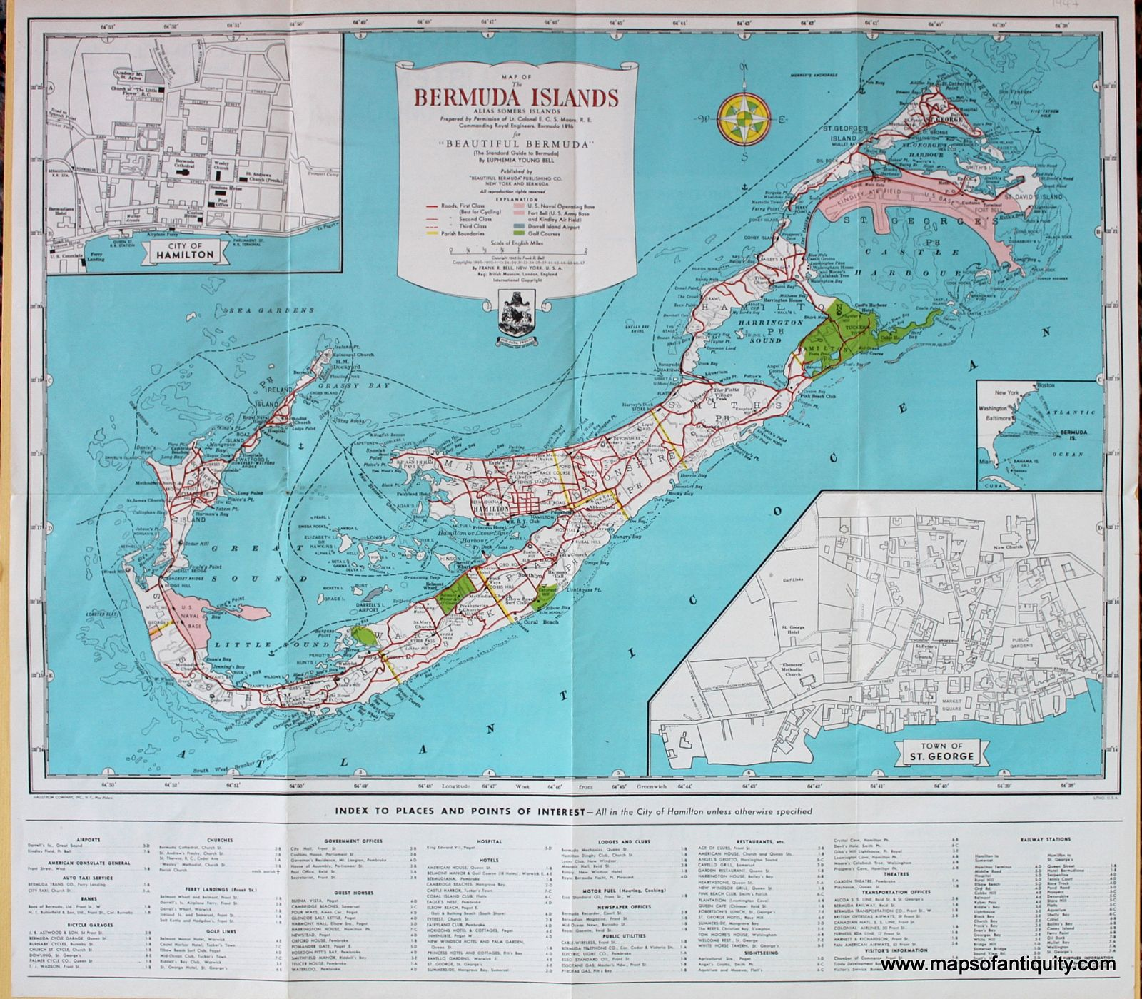Antique 1947 Map of the Bermuda Islands Maps of the Caribbean