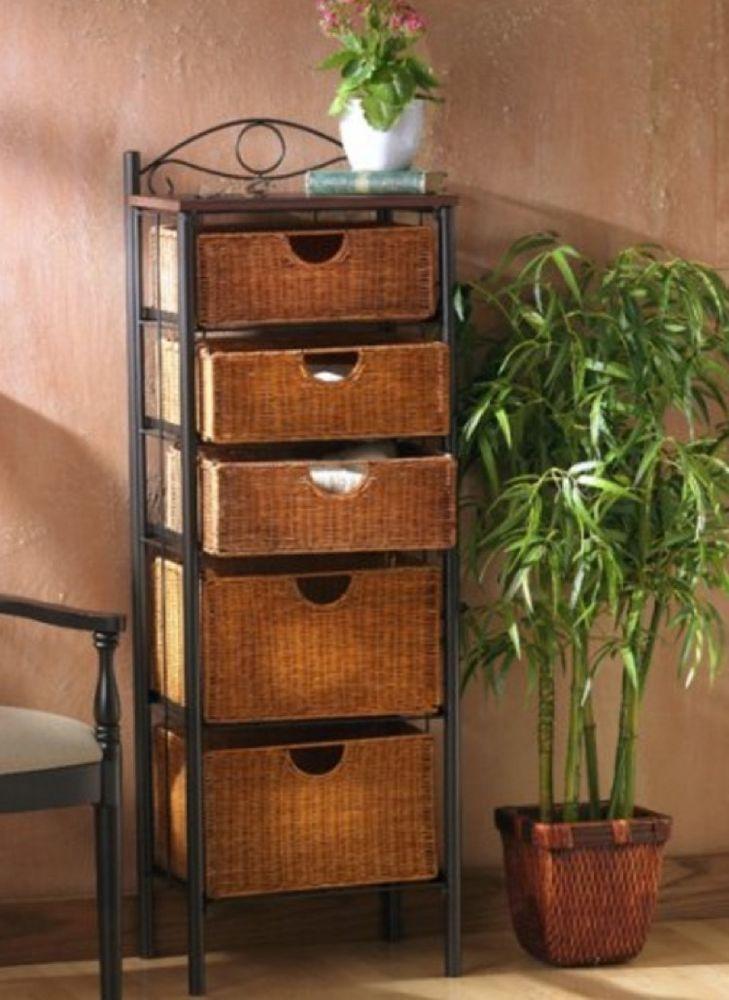 5 Drawer Dresser Wicker Storage Chest Sei Basket Drawers Bedroom Bathroom Linen Sei Contemporary Drawer Storage Unit Wicker Baskets Storage 5 Drawer Storage