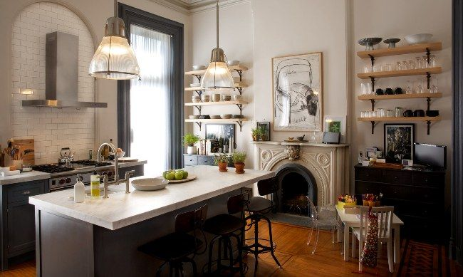 FIREPLACE IN THE KITCHEN  get the look: the brooklyn brownstone from the intern