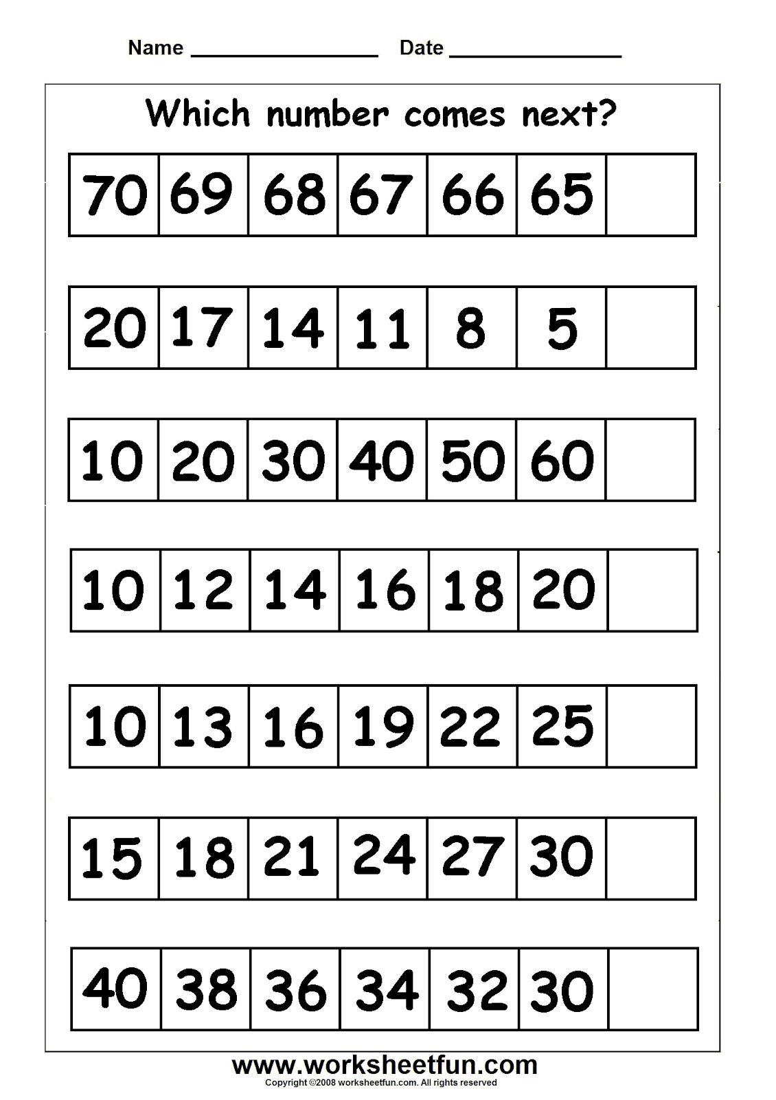 715 Counting number of jumps 721 Sequencing numerals 71371 – 1st Grade Math Worksheets Pdf