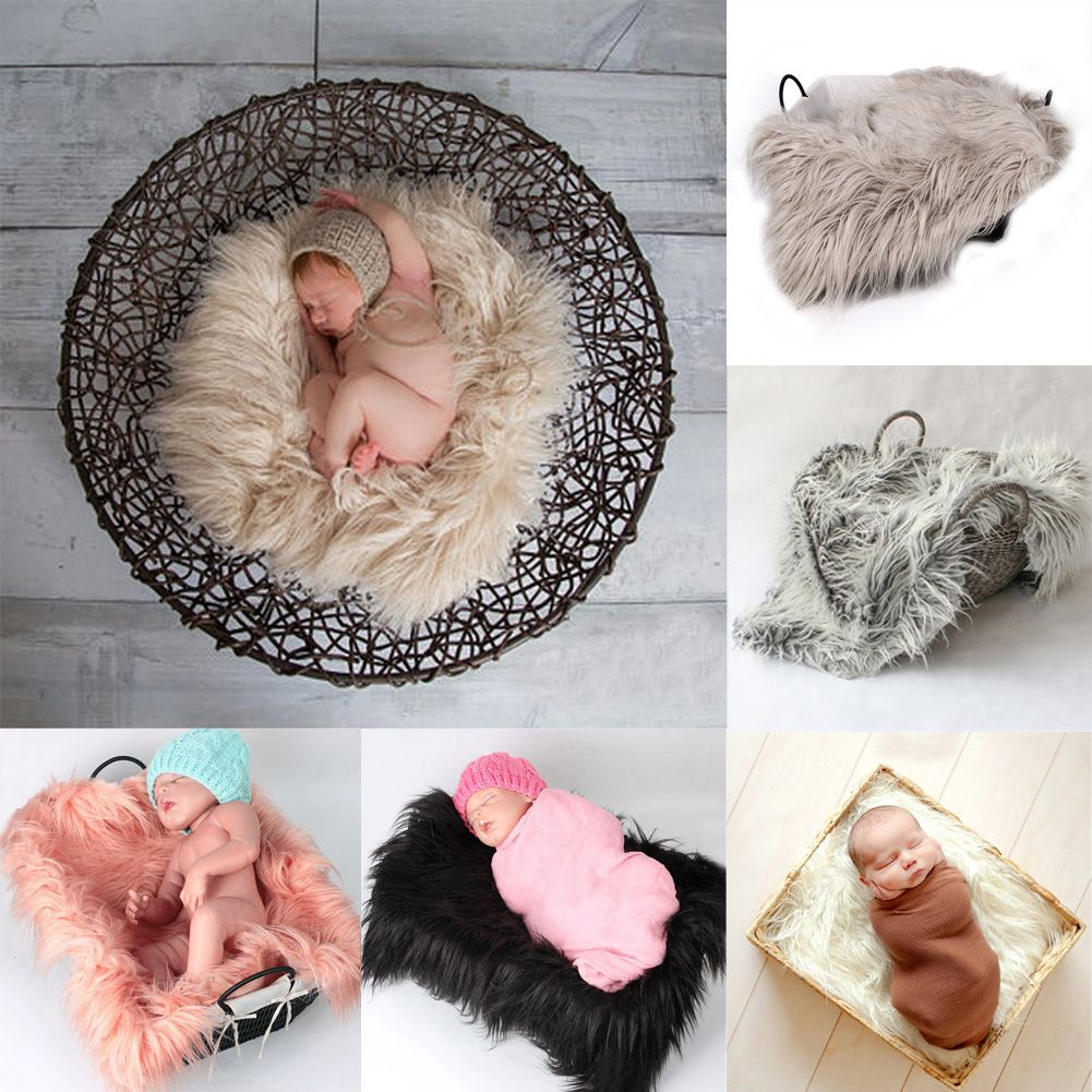 2019 Infant Baby Photo Props Newborn Photography Soft Fur Quilt Blanket Gift