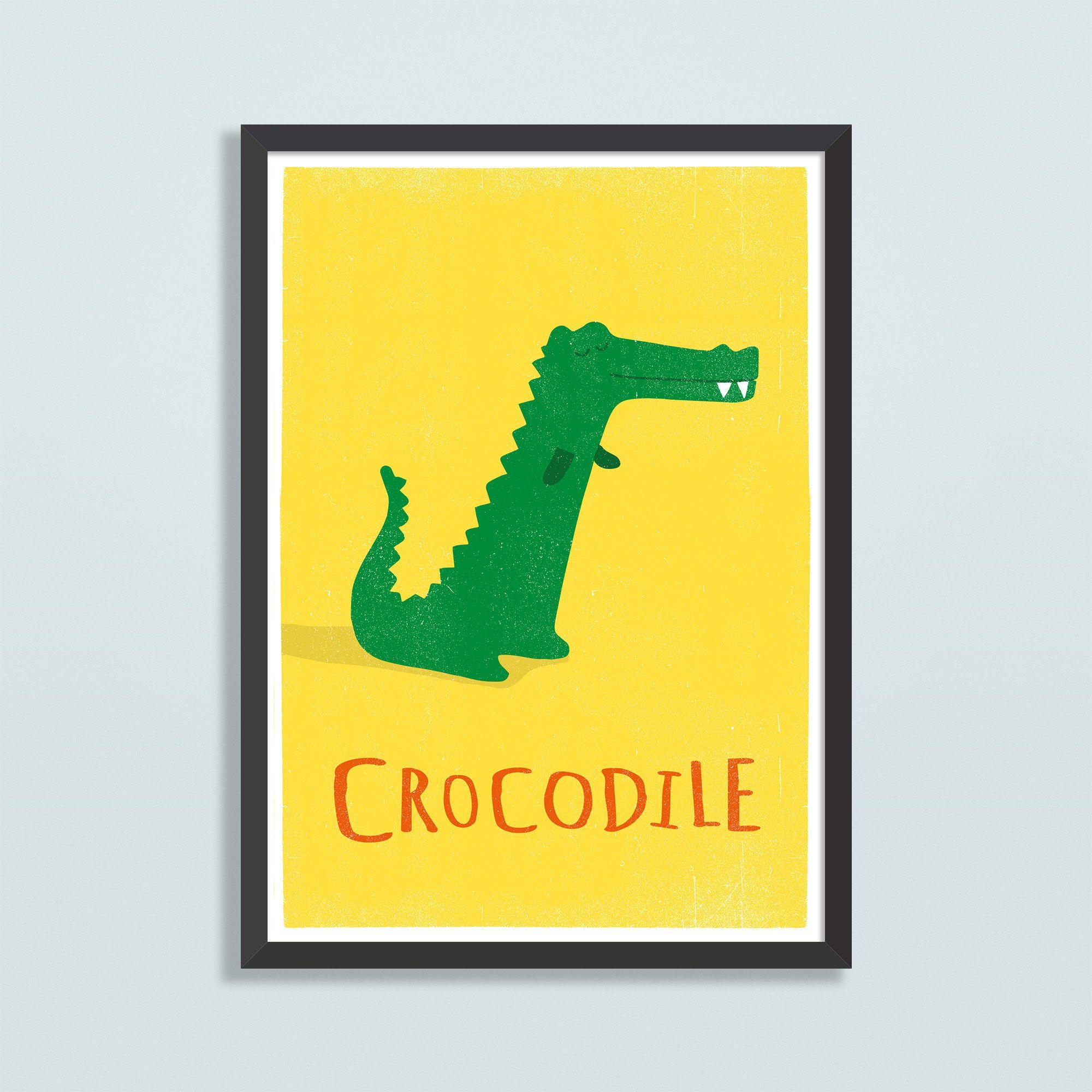 Personalised wall art / Crocodile nursery print / Kids jungle animal ...