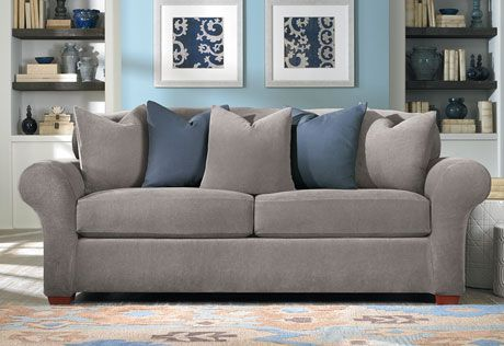 Sure Fit Slipcovers Stretch Piqué 2 Seat Individual Cushion Sofa Covers -  Sofa - Flannel Gray And Blue - Oh So Cozy! Sure Fit Slipcovers Stretch