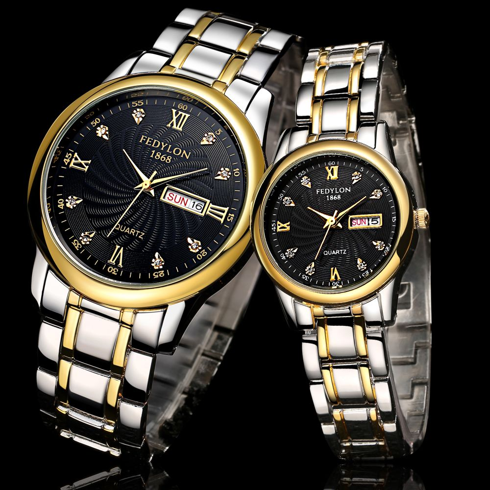 Couple Stainless Steel Wristwatches (With images) Gold