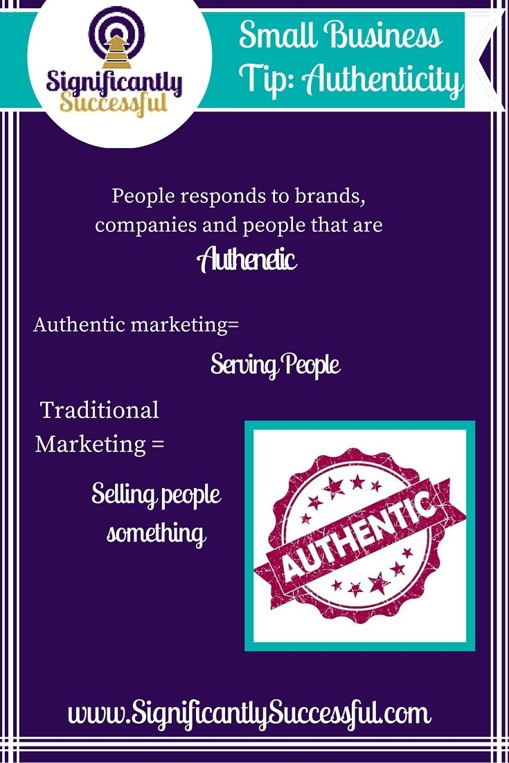 "I hear so many people talking about ""being authentic"" these days.   But real authenticity is not about throwing around bad words and acting like you are some bad biker girl that is not afraid to swear.   Authenticity is serving others. It is offering value and making connections.  Authentic marketing is about giving people something that will actually help them.  How are you serving people in your business today?"