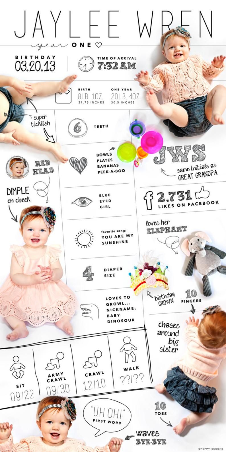 Large Custom Designed One Year Baby Infographic Digital File Etsy Baby Infographic Baby Photos Newborn Photography Girl