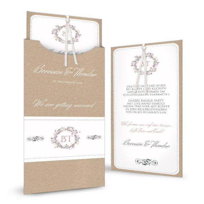 Einladung zur Hochzeit mit Kraftpapieroptik und aufgedruckter