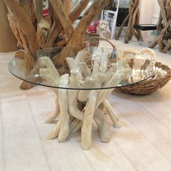 Bleached Driftwood Round Coffee Table