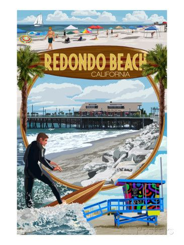 LP Artwork Posters, Wood /& Metal Signs CA Montage Scenes Huntington Beach