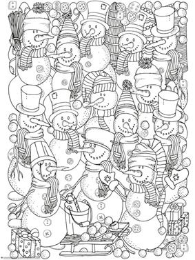 Adorable Snowman Coloring Collage Winter Theme Snowmen