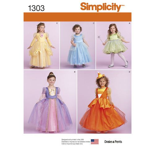 simplicity pattern 1303 toddlers and childs costumes - Childrens Halloween Costume Patterns