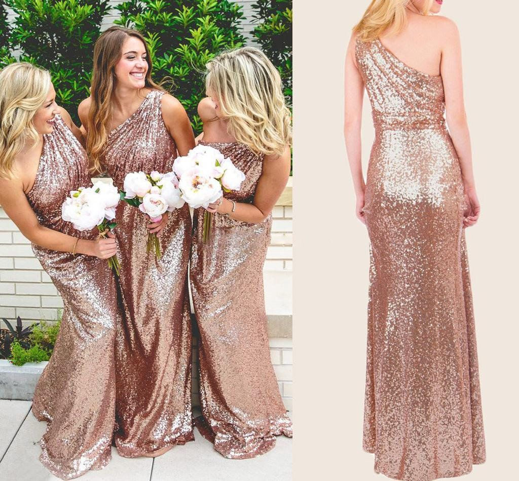 Sparkly Bridesmaid Dresses Sequins Lace One Shoulder Navy