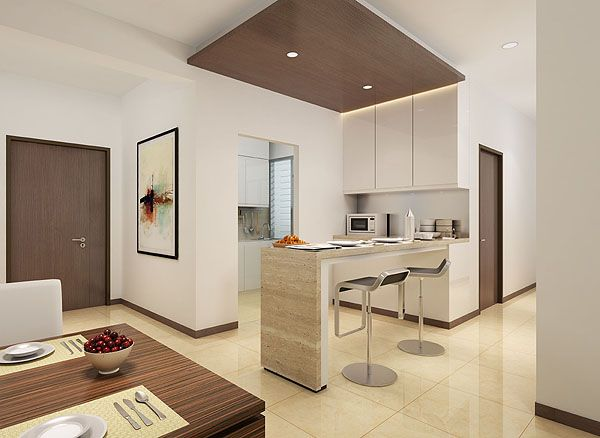 wet and dry kitchen design. Extension of kitchen to outside  Can also consider the cabinets for living room storage