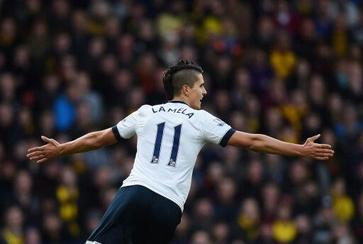 8727c1fde7394 Lamela wheels away in celebration after putting Spurs 1-0 up away to  Watford 28 12 15. Spurs won 2-1